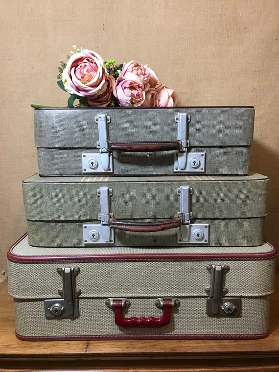 Vintage Suitcase Stack - 3 Vintage Retro Luggage Stack - Cream Brown Red Home Decor - Vintage Storage Solutions - Photo Props - 1940s - 50s