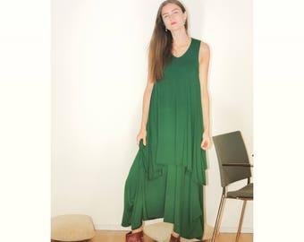 Green dress, Maxi trikot dress