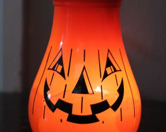 Vintage HTF Gemco Candle Vase-Jack o Latern- Pumpkin-Halloween-Pumpkin Face