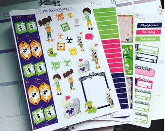 4 page zombie walking dead Halloween set great for use with the erin condren life planner tm VERTICAL planner stickers holiday tn with date