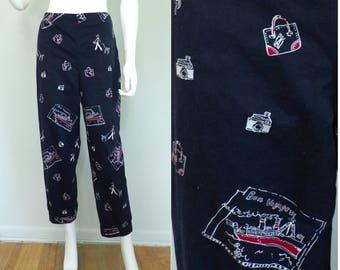Talbots Black Red Print Crop Pants Small, Travel Print Capris, Bon Voyage Ship Vacation Print, 28 inch waist, womens slacks,high waist pants