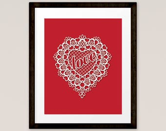 Love Print Valentine Art, Home Decor, Red Lace Heart Print, Printable, INSTANT DOWNLOAD