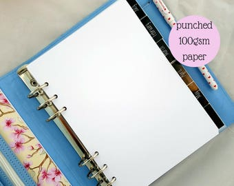 A5 sized 100gsm punched plain paper x 50 sheets | note paper | punched notepaper | for large Kikki K or Filofax