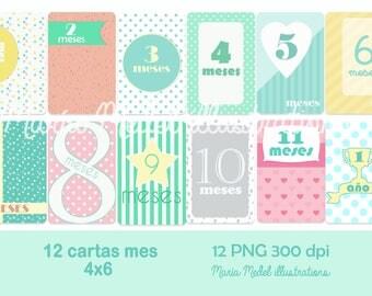 Printable journaling cards o tarjetas project life bebé ESPAÑOL- bebé+12 meses+7 marcos en blanco