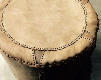 Genuine  handmade  REAL leather pouf/ ottomans - LARGE-Light brown-style no 02
