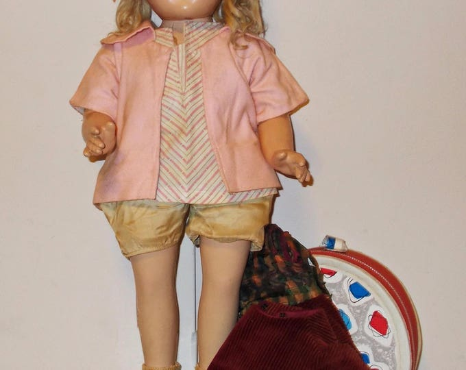 "25"" 40s Antique Vintage Composition Unmarked Shirley Temple Shoulder Head Doll Blonde Mohair Wig Extra Outfit & Doll Case"