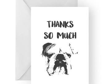 English bulldog thank you card- English bulldog greeting card, dog card, English bulldog thank you card, English bulldog gift, thankyou card