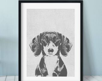 Dachshund art print, Dog Print Gift Idea, Modern Dog Art Print, Black White Wall Decor, Dachshund print, Pet portrait, dog art