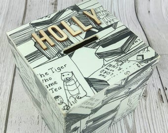 Books Themed Wooden Money Box
