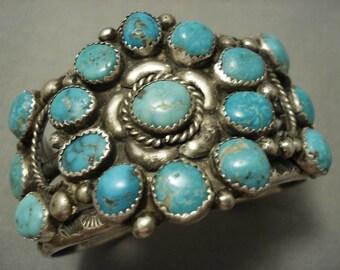 Opulent Vintage Navajo Turquoise Cluster Sterling Silver Bracelet Old