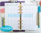 PRINTED Month on 2 pages - Mo2p calendar insert - MONDAY start - Dated thru December 2018 monthly planner - Personal size - P25