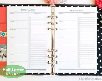 PRINTED Weekly meal planner - Meal plan and shopping list - Menu planning inserts - Food groceries planning - Half-Letter size (32H)