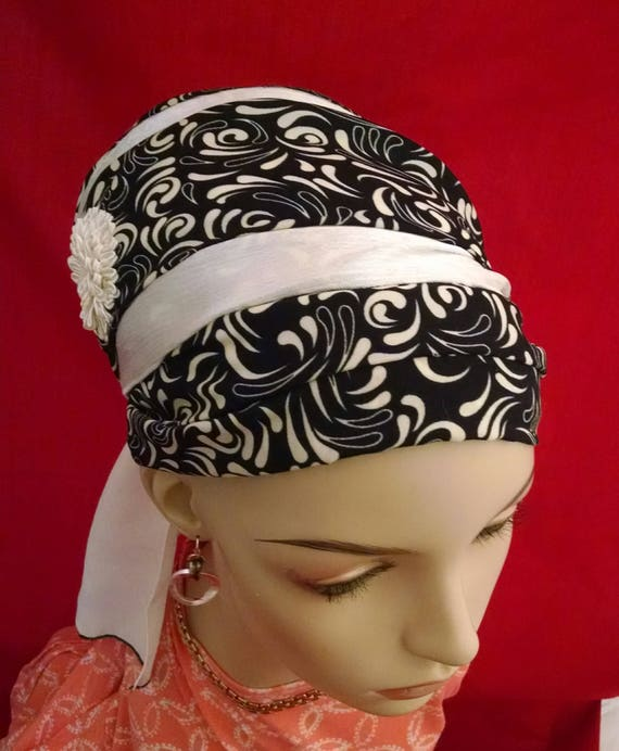Lovely swirls with flower sinar tichel, tichels, chemo scarves, head scarves, hair snoods