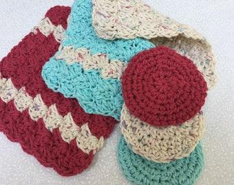 Handmade Washcloth Set | Cotton Wash Cloth | facial rounds | Wash Rag | Bath Accessory | Crochet Bathroom Set
