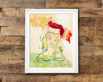 "Belle Christmas watercolor Murals ,8""x10""  JPEG & PDF file , Inspirational Quote, Digital Prints,Wall Art Prints, Digital Download"