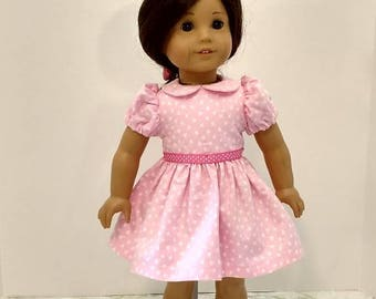 Pretty Pink and White Print Dress for American Girl Size Doll.   A626