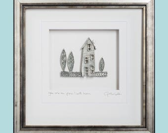 You are the place I call home, Cottage, Pewter, Framed