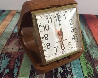 Vintage Westclox Brown and Gold Folding Travel Alarm Clock