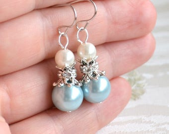 Light blue earrings Blue bridesmaid earrings Bridesmaid jewelry Light blue Wedding jewelry with rhinestone Blue Bridesmaid gift Blue jewelry