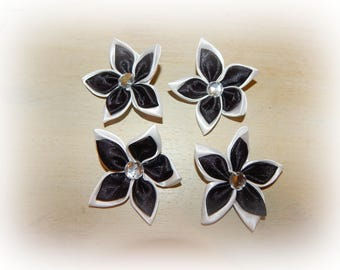 4 satin 5 petals flower appliques black white 5.5 cm