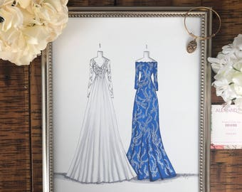 Custom Bride and Bridesmaid/ Maid of Honor/Mother of the Bride Illustration