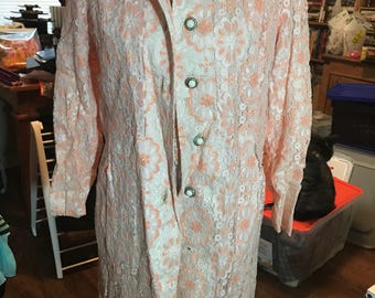 1960's Samuel Grossman Lace Overlay Dress and Rhinestone Accent Coat