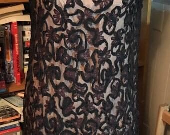 1960's Sleeveless Lace Overlay Party Dress