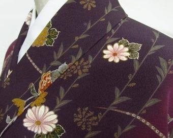 Vintage Kimono, Dark Purple, Chrysanthemum, Bellflower, Plum blossom