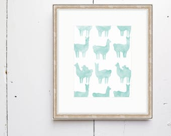 Llama Watercolor Print - SMc. Originals, watercolor painting, rustic, modern, original artwork, nursery decor, nursery art, nursery print