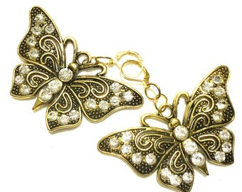 Cubic Zirconia Butterfly Earrings, Stunning Gold Earrings, OTT Big Earrings, On Trend Gift, Beautiful Xmas Gift,Anytime Gift