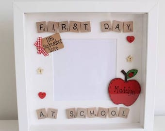 First Day at School Nursery with Personalised Apple Scrabble Photo Frame Present Gift