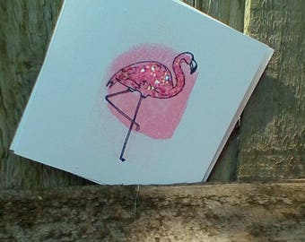 Pink Sparkly Flamingo Greeting Card