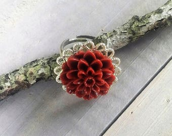 Burgundy Dahlia Ring - Burgundy Flower Ring - Shiny Silver Ring - Adjustable Ring - Flower Ring - Simple Jewelry - Rustic Jewelry - Vintage
