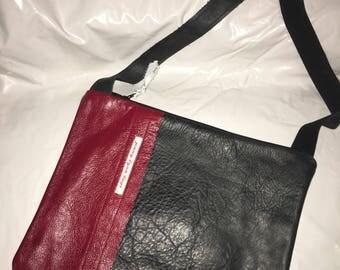 Red and black leather handmade handbag