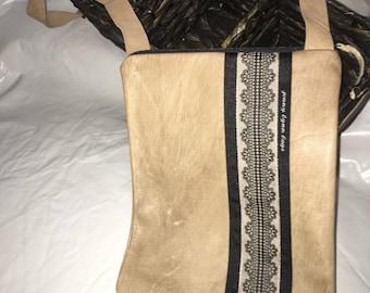 Tan leather handmade handbag