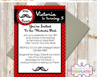 SALE Personalized Printable Invitations | Mustache Bash | Red  | Birthday Party | #173