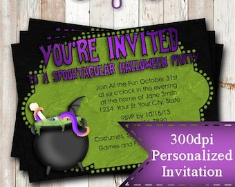 SALE Personalized Printable Invitations | Halloween | Cauldron Brew | Holiday |   #26
