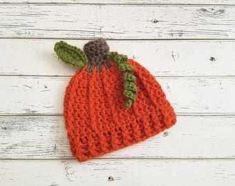 Baby Pumpkin Hat, Pumpkin Hat, Pumpkin Photo Prop, Pumpkin Beanie, Crochet Pumpkin Hat, Fall Photo Prop, Pumpkin Hats, Baby Boy READY 2 SHIP