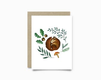 Greeting card - Sleepy Squirrel