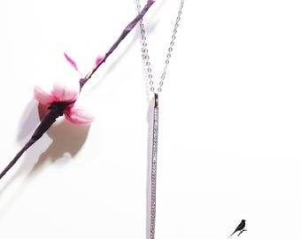 Long Bar Necklace Cz 925 Silver Yellow Rose Gold