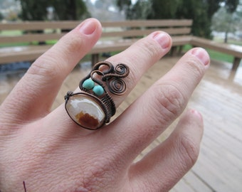 Adjustable Carnelian Copper Wire Wrapped Ring with Magnesite Accents