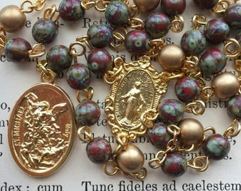 Angelic Crown of Michael Chaplet, Czech glass beads, gold tone medal