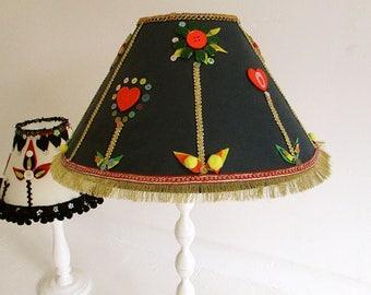 Bespoke hand decorated custom made lampshade,tribal,ethnic,shabby chic,folk art,black lampshade,hand made,statement shades,teenage bedroom