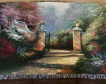 50% Off Retail! Victoria Gardens Blanket Throw by Thomas Kinkade