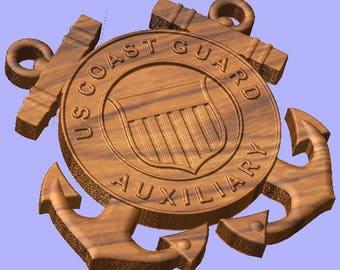 17 Inch 3D Coast Guard Auxiliary Crossed Anchors Plaque. Coast Guard Auxiliary Shield. Semper Paratus USCG AUX