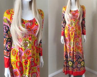 60's MOD Bright Psychedelic Flower Power Print Maxi Dress, Groovy Hawaiian Poly Knit Empire Waist Long Sleeves Maxi - size xs