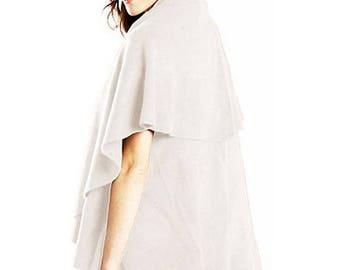 Versatile Cream Long Cape Wrap Poncho Vest Shawl
