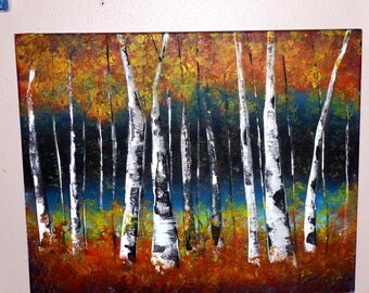 birch tree forest painting acrylic on canvas 16x20