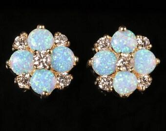 Opal Diamond Cluster Stud Earrings 9ct Gold 1.60ct Opal