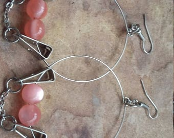 Pink silver,stylish,fashion,trendy,modern,elegant,wedding,bridesmaid,birthday,beaded,handmade,holiday,party,dance,xmas,dangle drop,earrings